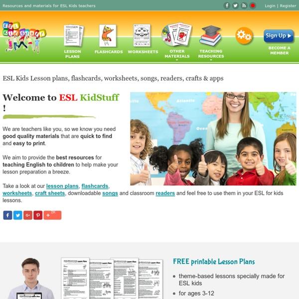 ESL Kids lesson plans, worksheets, flashcards, songs, readers, games