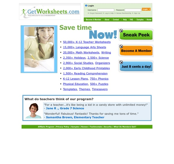 50,000+ Teacher Worksheets, Lesson Plans, Web Quests, and Teacher Resources- Getworksheets.com.