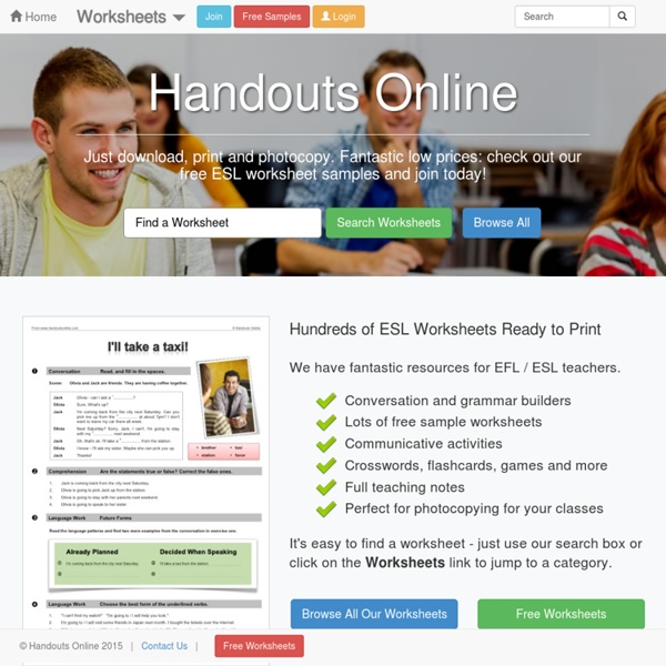 ESL worksheets, handouts, lesson plans and resources for English teachers.