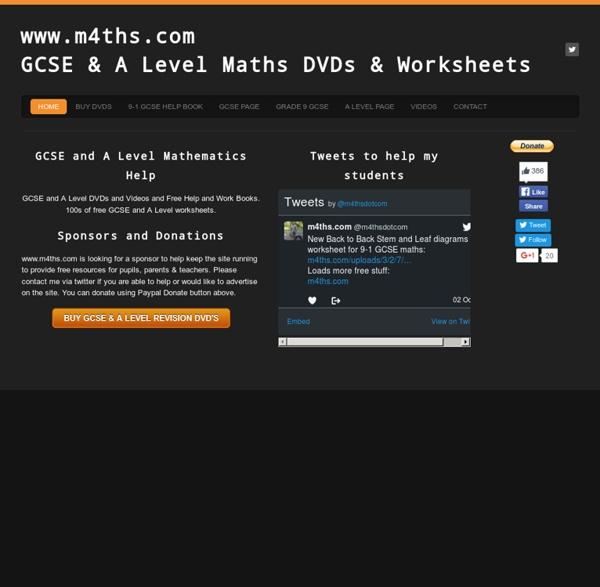 m4ths.comGCSE & A Level Maths DVDs & Worksheets