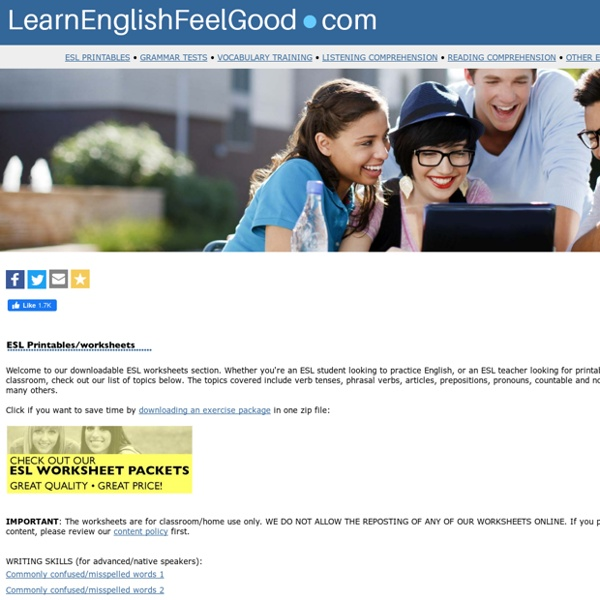 Free ESL worksheets, ESL printables, English grammar handouts, free printable tests