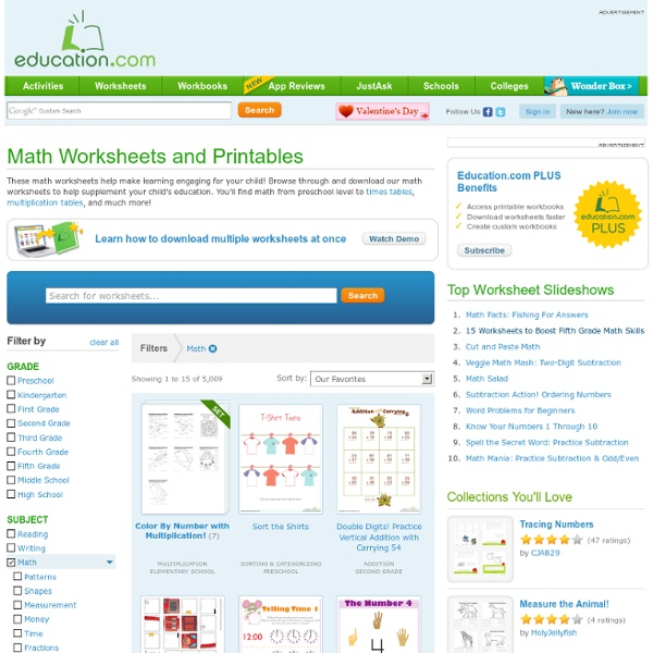 Free Math Worksheets and Printables