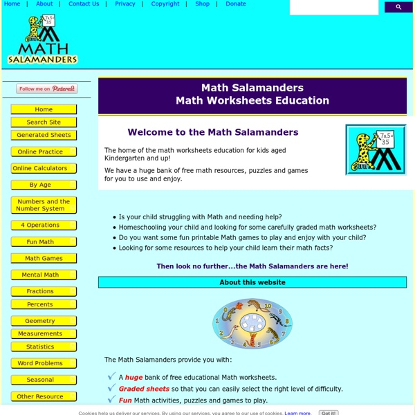 Math Worksheets Printable from the Math Salamanders | Pearltrees