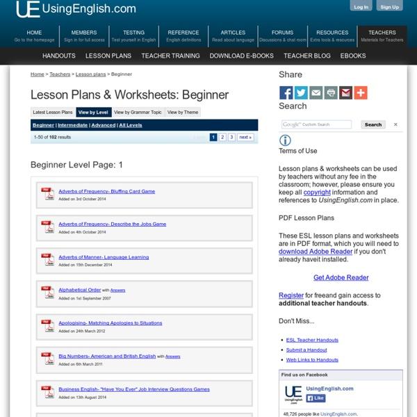 Beginner Level, Page 1 - ESL Lesson Plans & Worksheets