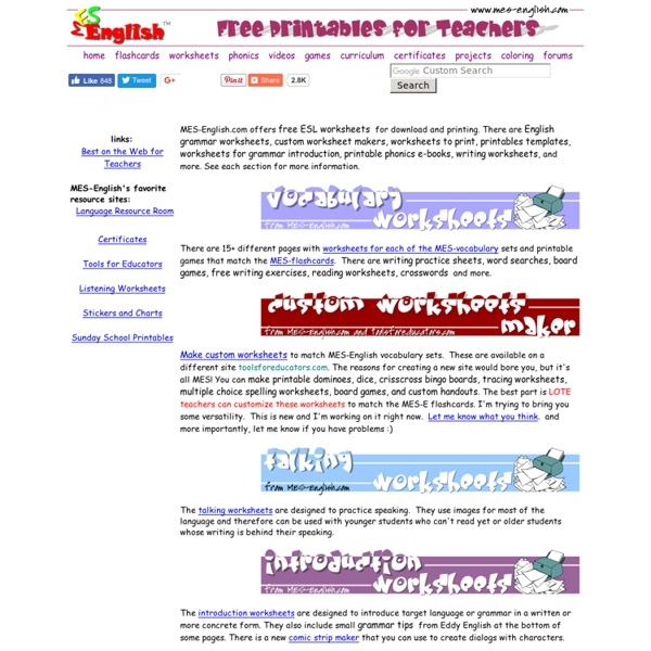 Free printable English worksheets, wordsearches ...