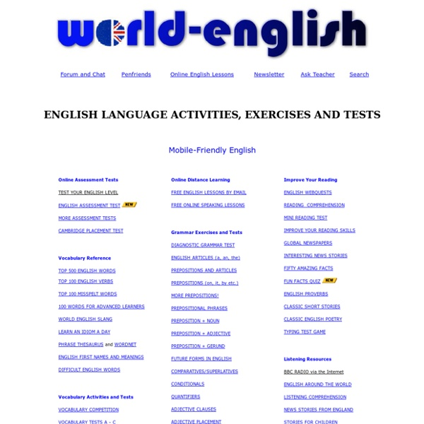 World English : test, learn and study the English language online