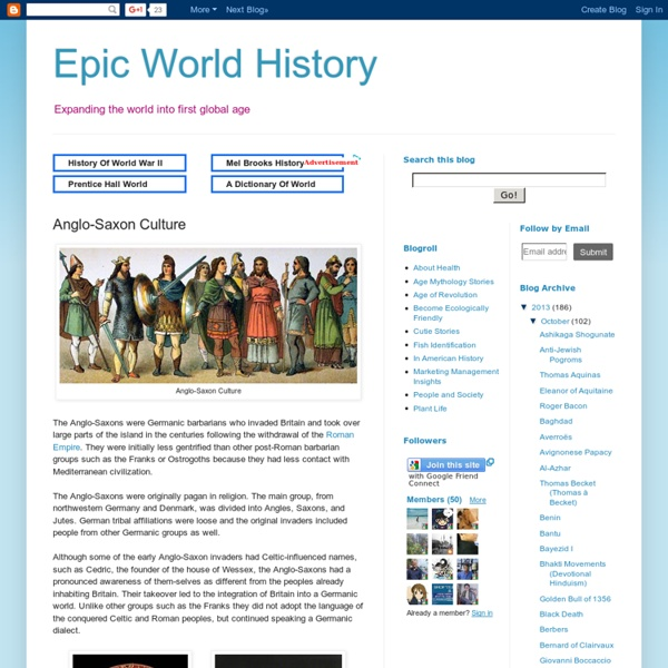Epic World History: Anglo-Saxon Culture