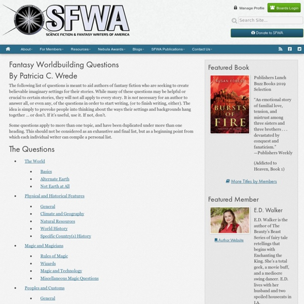 Fantasy Worldbuilding Questions