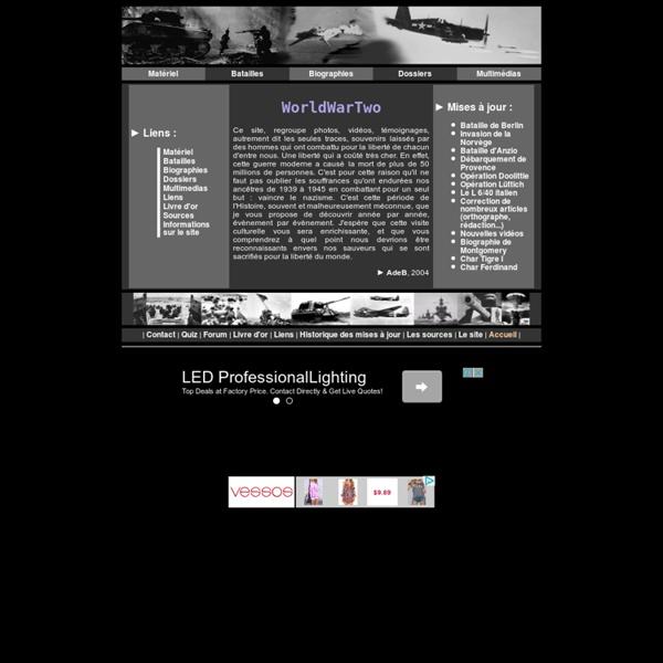 WorldWarTwo, site généraliste sur la seconde guerre mondiale