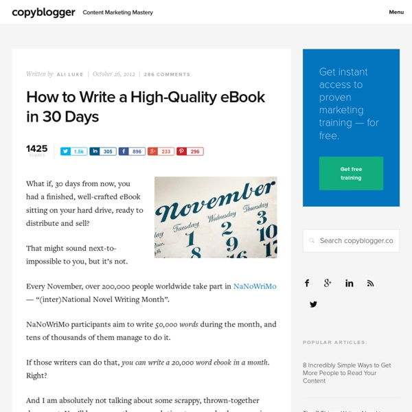 How to Write a High-Quality eBook in 30 Days