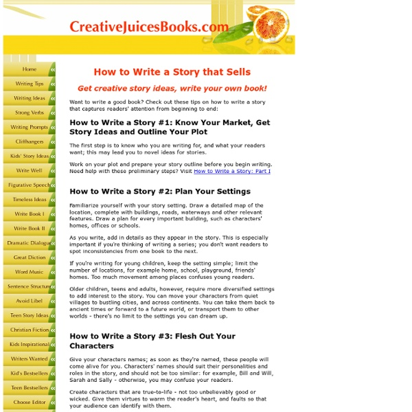 creative story writing ideas How to come up with ideas for creative writing writers of fiction,  but you can also find story ideas from what you read, whether in newspapers,.