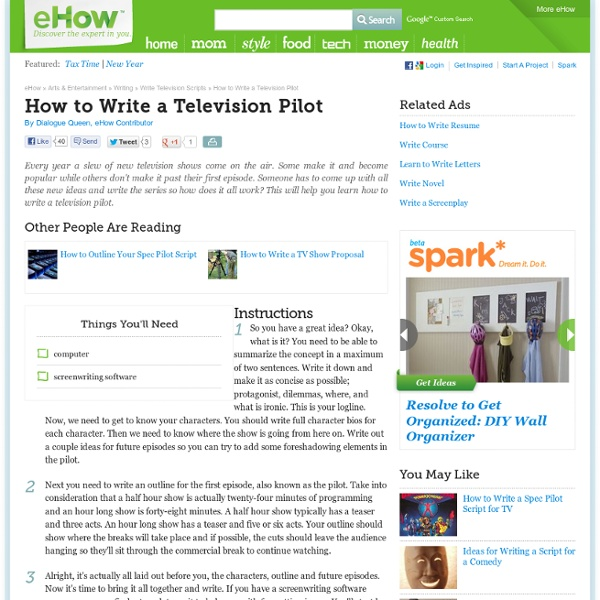 How to Write a Television Pilot