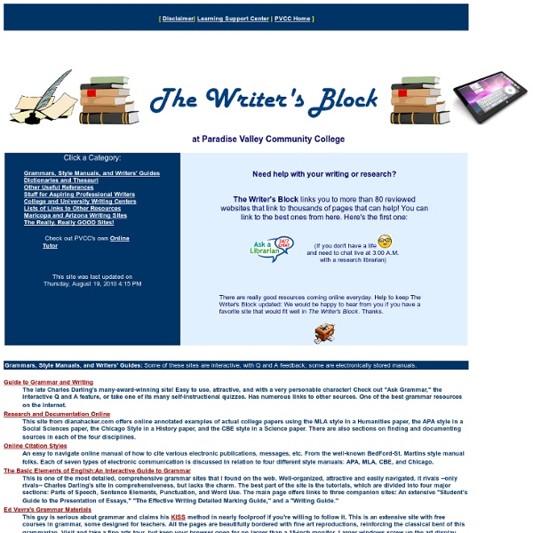 The Writers Block. Writing resources for the students at PVCC