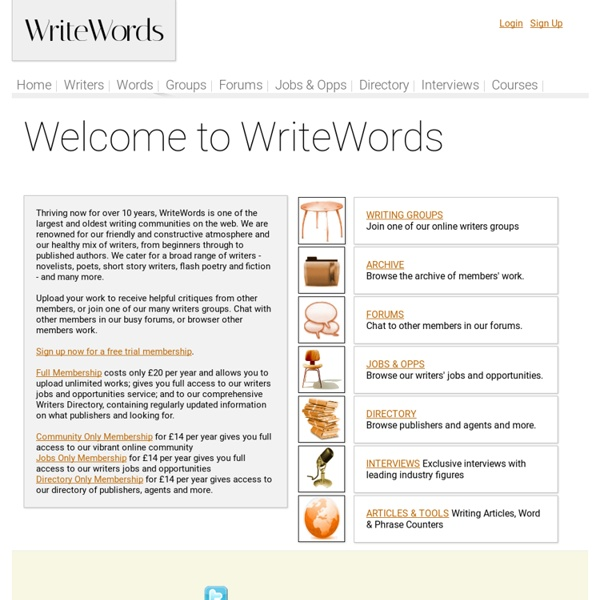 WriteWords - Writing Community - jobs, directory, forums, articles for writers