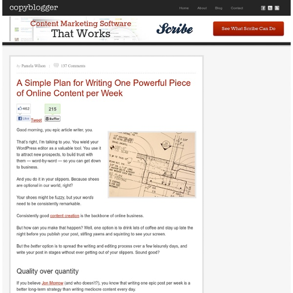 A Simple Plan for Writing One Powerful Piece of Online Content per Week