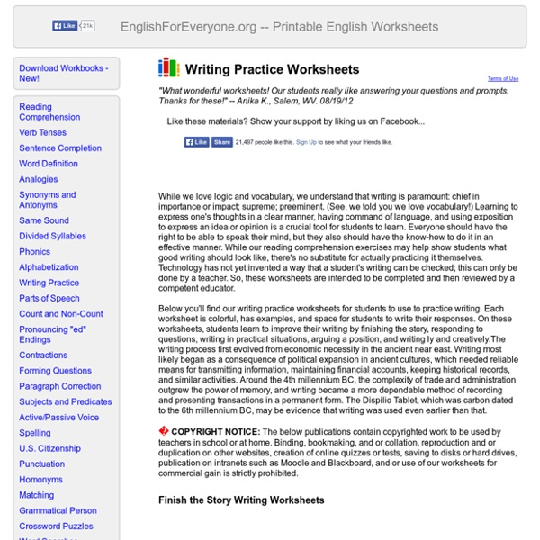 Writing Practice Worksheets