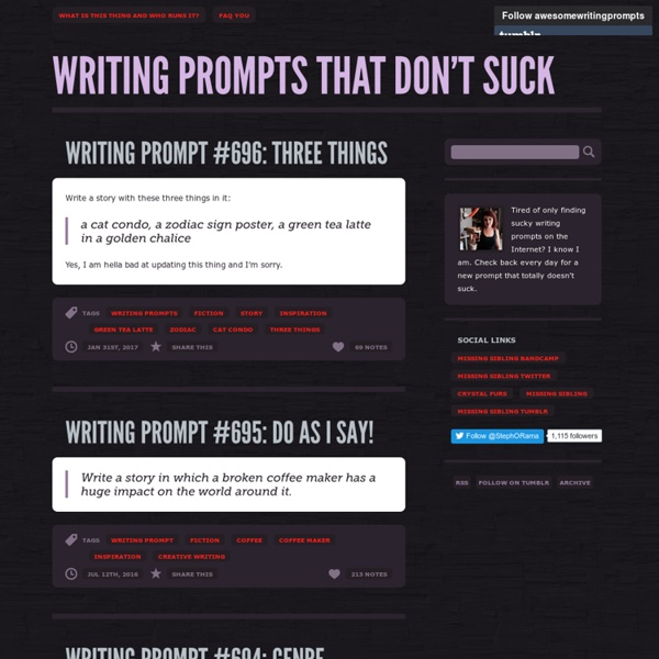 Writing Prompts That Don't Suck