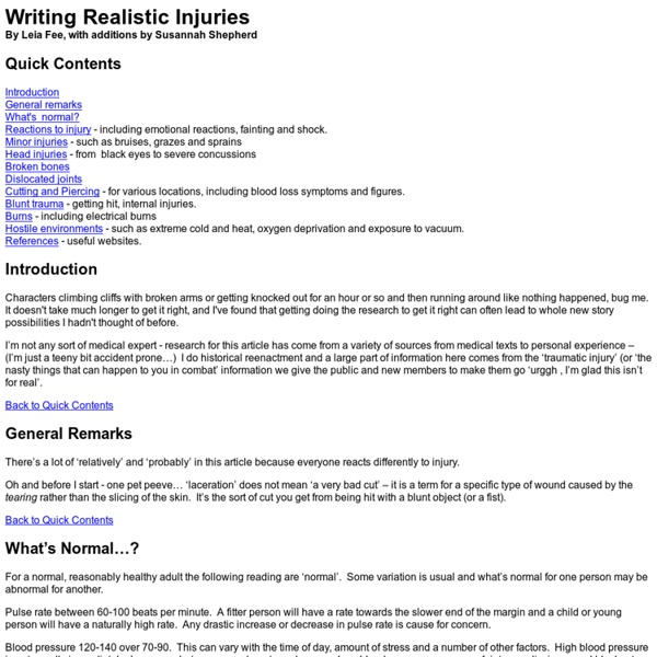 Writing Realistic Injuries