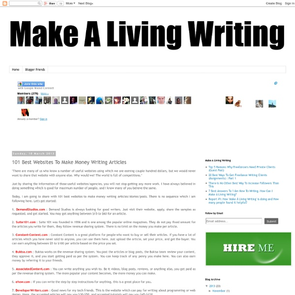 101 Best Websites To Make Money Writing Articles