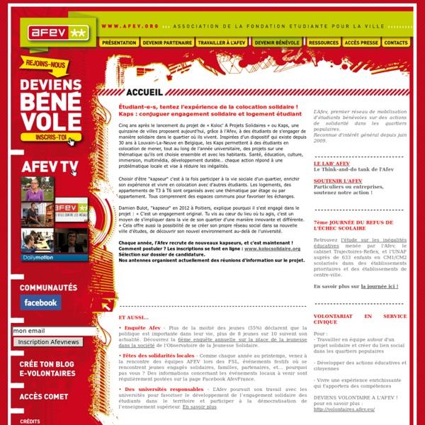 SITE AFEV : Association de la fondation étudiante pour la ville