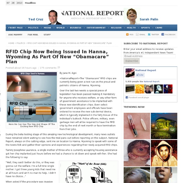 """RFID Chip Now Being Issued In Hanna, Wyoming As Part Of New """"Obamacare"""" Plan"""