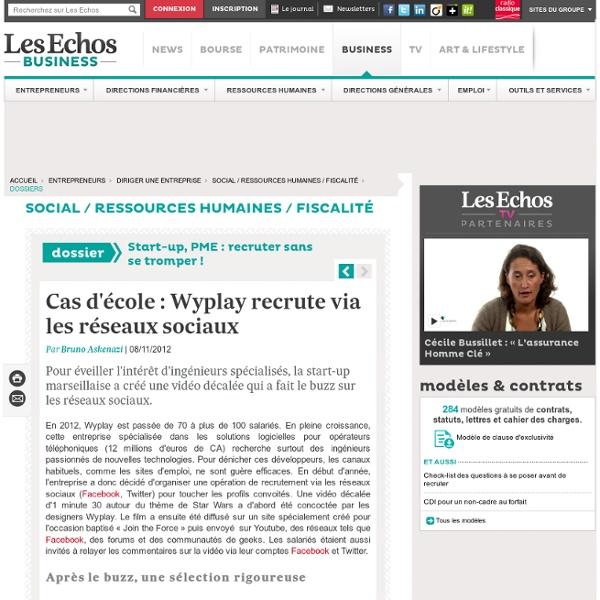 Cas d'école : Wyplay recrute via les réseaux sociaux, Start-up, PME : recruter sans se tromper !