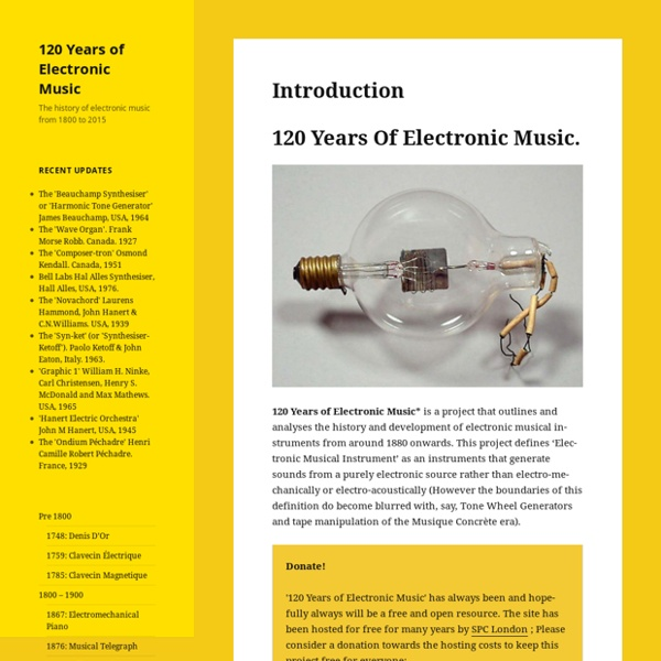 120 Years of Electronic Music – The history of electronic music from 1800 to 2015