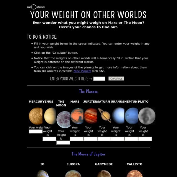 Your Weight on Other Worlds Exploratorium