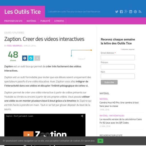 Zaption. Creer des videos interactives