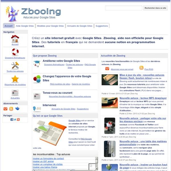 Zbooing : Astuces pour Google Sites