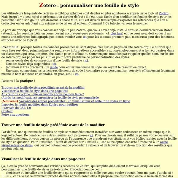 Zotéro: modifier une feuille de style