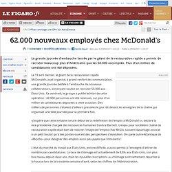 Sociétés : 62.000 nouveaux employés chez McDonald's