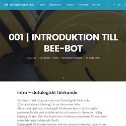 Introduktion till Bee-bot - Kodknäck