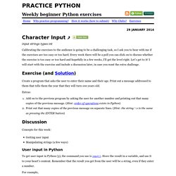 Python tutorial with exercise