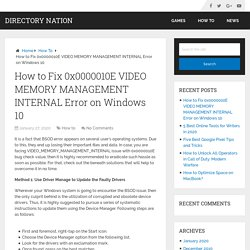 How to Fix 0x0000010E VIDEO MEMORY MANAGEMENT INTERNAL Error on Windows 10 – Directory Nation
