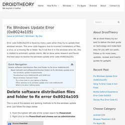 Fixed: 0x8024a105 Windows Update Error