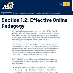 1.2 Effective Online Pedagogy