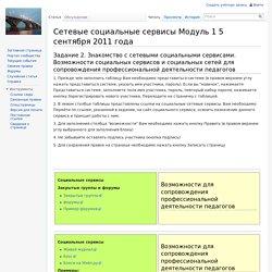 Сетевые социальные сервисы Модуль 1 5 сентября 2011 года — Saratov FIO Wiki