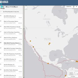 Earthquakes - 7 days, M2.5+
