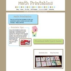 1+1+1=1...Preschool Printables