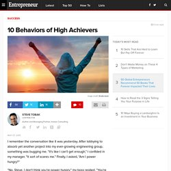 Career: 10 Behaviors of High Achievers