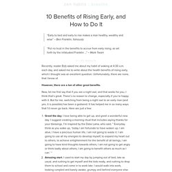 Rising Early, and How to Do It
