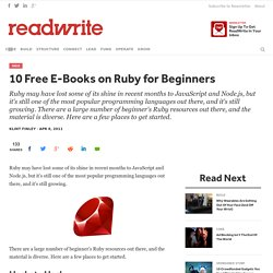 10 Free E-Books on Ruby for Beginners