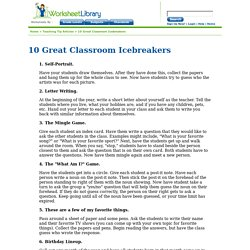 10 Great Classroom Icebreakers