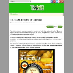 10 Health Benefits of Turmeric - part 1