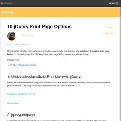 10 jQuery Print Page Options