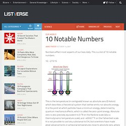 10 Notable Numbers