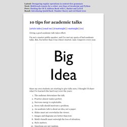 10 tips on how to give an academic talk