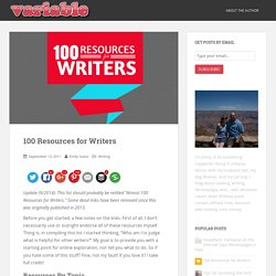 100 Resources for Writers