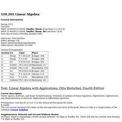 110.201 Linear Algebra